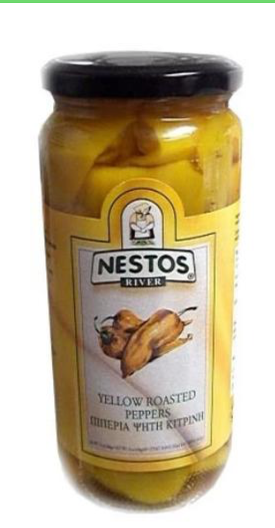 Roasted Yellow Peppers - Nestos Foods  16oz
