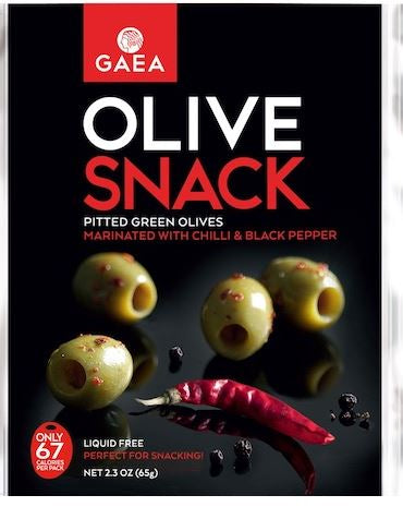 Green Olive Snack Packs -Chili and Black Pepper