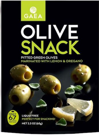 Green Olive Snack Packs -  Lemon and Oregano