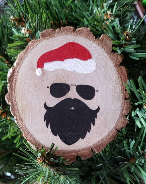 Bearded Man Santa Hand Painted Ornament