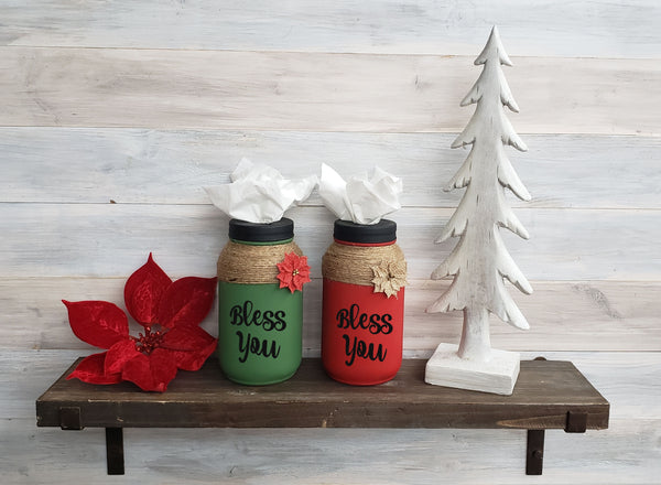 Hand Painted Bless You Holiday Mason Jar Tissue Holder