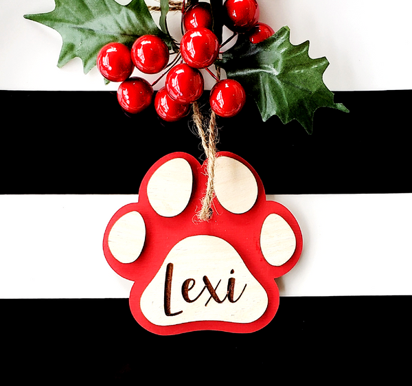 3D Wooden Dog Paw Personalized Ornament
