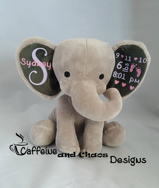 Personalized Birth Stats Plush Elephant