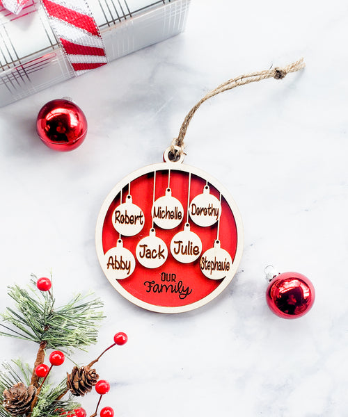 Personalized Family Christmas Ball Ornament with Names