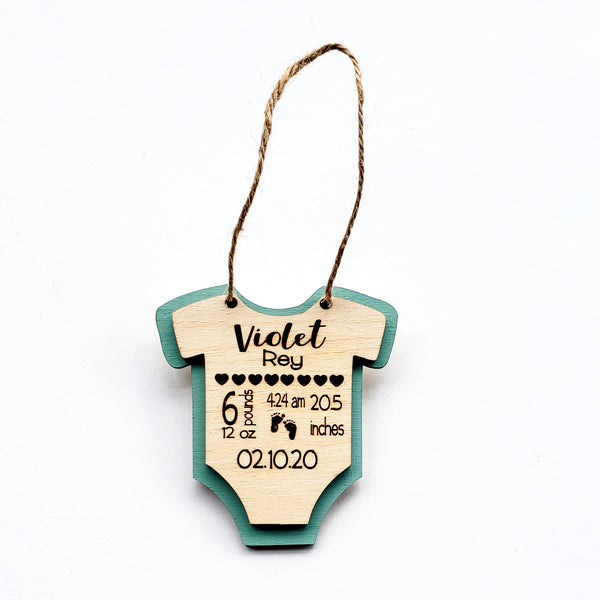 3D Wooden Personalized Baby Stats Ornament