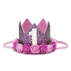 Confetti Pink First Birthday Crown