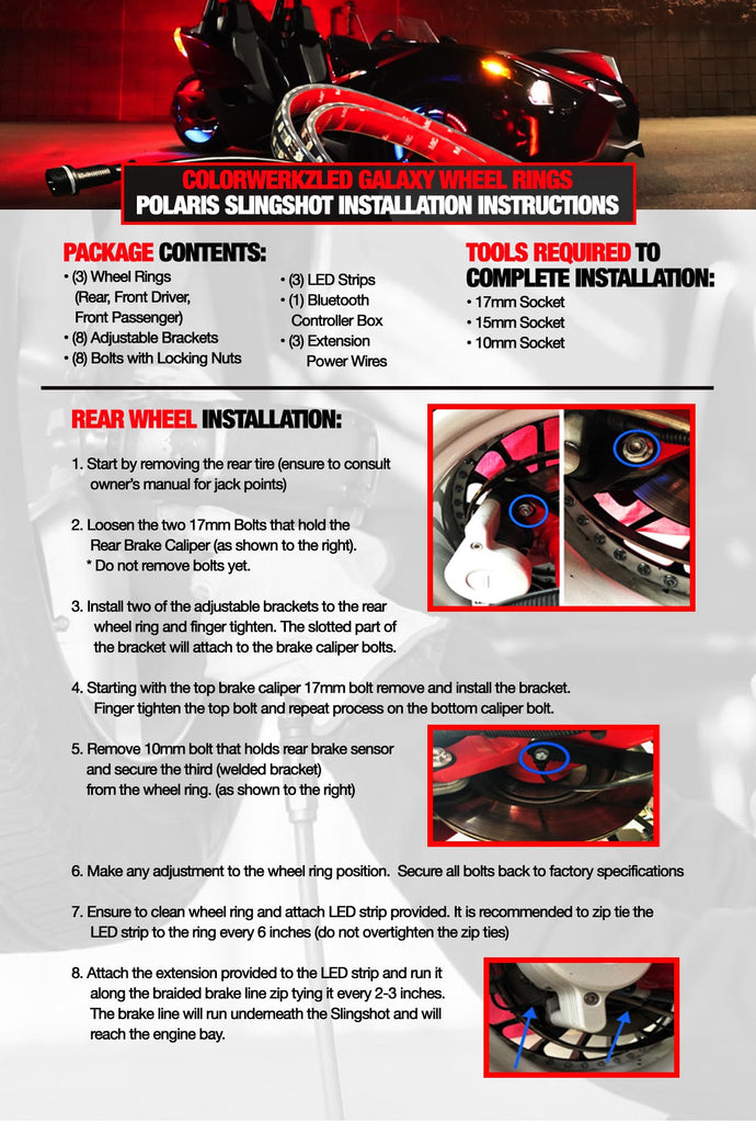 Polaris Slingshot LED Wheel Ring Lights Installation Guide - AutoLEDTech.com