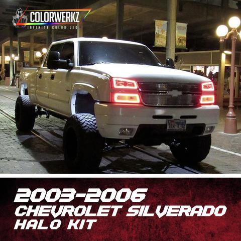 2003-2006 Chevrolet Silverado Color-Chasing Halo Kit LED headlight kit AutoLEDTech Colorwerkz Oracle Lighting Trendz Flow Series Flashtech RGBHaloKits LED Concepts
