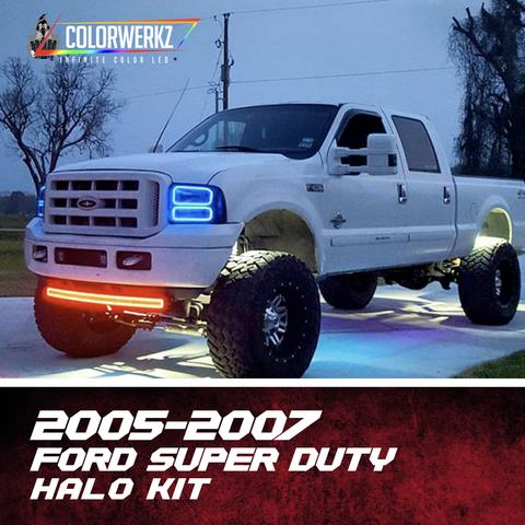 2005-2007 Ford F250 F350 Excursion Super Duty Color-Chasing Halo Kit LED headlight kit  AutoLEDTech Colorwerkz Oracle Starry Night Flashtech