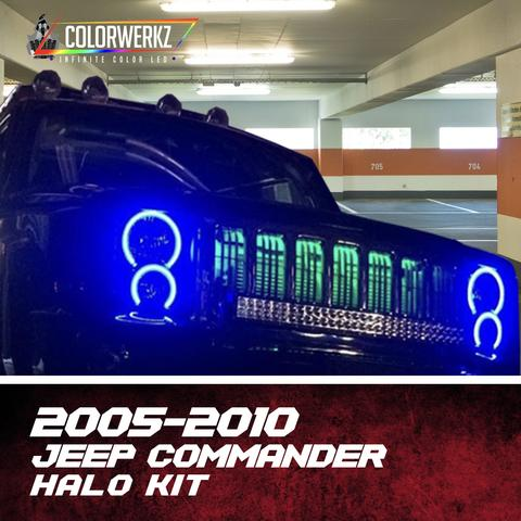 2005-2010 Jeep Commander Color-Chasing Halo Kit LED headlight kit  AutoLEDTech Colorwerkz Oracle Starry Night Flashtech
