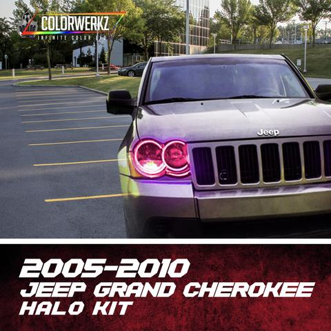2005-2010 Jeep Grand Cherokee/SRT Color-Chasing Halo Kit LED headlight kit AutoLEDTech Colorwerkz Oracle Lighting Trendz Flow Series Flashtech RGBHaloKits LED Concepts