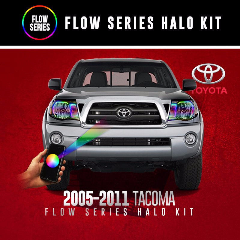 2005-2011 Toyota Tacoma Flow Series Halo Kit LED color chasing headlight halo kit  AutoLEDTech & Colorwerkz