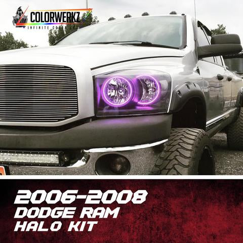 2006-2008 Dodge Ram Color-Chasing Halo Kit LED headlight kit  AutoLEDTech Colorwerkz Oracle Starry Night Flashtech