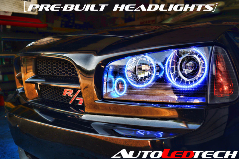 2008-2010 Dodge Charger Prebuilt Halo Headlights (Projector) LED headlight kit  AutoLEDTech Colorwerkz Oracle Starry Night Flashtech