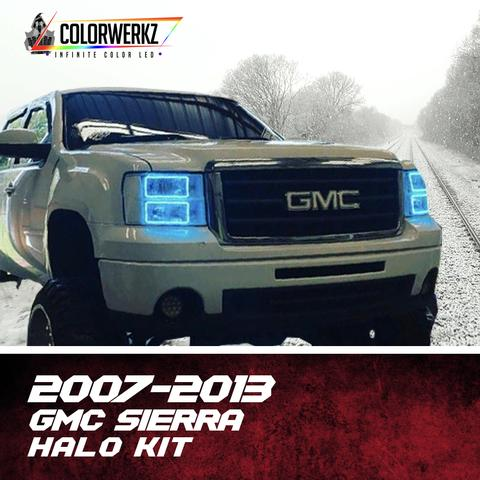 2007-2013 GMC Sierra Color-Chasing Halo Kit LED headlight kit  AutoLEDTech Colorwerkz Oracle Starry Night Flashtech