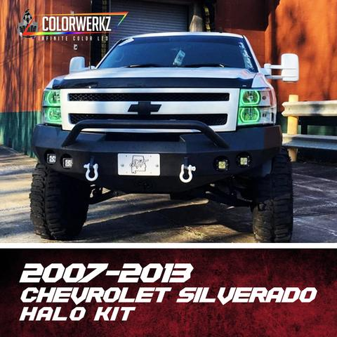 2007-2013 Chevrolet Silverado Color-Chasing Halo Kit LED headlight kit AutoLEDTech Colorwerkz Oracle Lighting Trendz Flow Series Flashtech RGBHaloKits LED Concepts