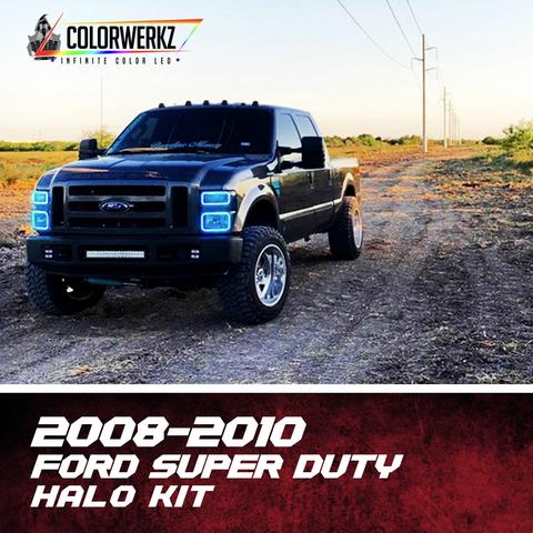 2008-2010 Ford F250 F350 Super Duty Color-Chasing Halo Kit LED headlight kit  AutoLEDTech Colorwerkz Oracle Starry Night Flashtech