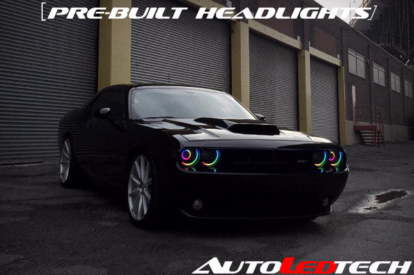 2008-2014 Dodge Challenger Prebuilt Halo Headlights (Projector) LED headlight kit AutoLEDTech Colorwerkz Oracle Lighting Trendz Flow Series Flashtech