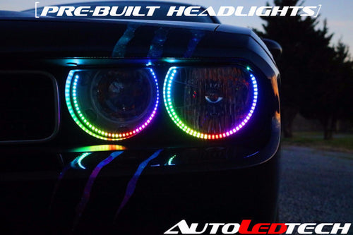Pre-installed 2009-2014 Dodge Challenger Halo Headlights (Halogen) LED color chasing headlight halo kit  AutoLEDTech & Colorwerkz
