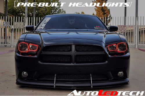 2011-2014 Dodge Charger Prebuilt Halo Headlights (Halogen) LED headlight kit  AutoLEDTech Colorwerkz Oracle Starry Night Flashtech