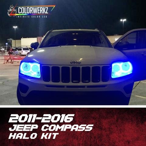 2011-2016 Jeep Compass Color-Chasing Halo Kit LED headlight kit  AutoLEDTech Colorwerkz Oracle Starry Night Flashtech