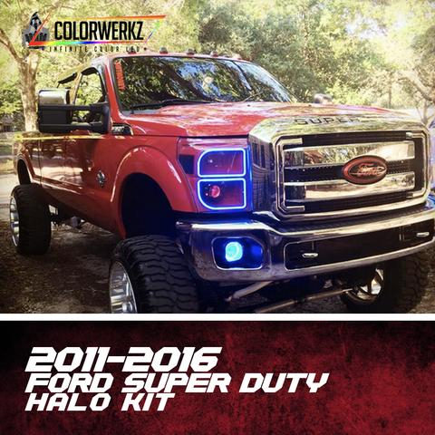 2011-2016 Ford F250 F350 Super Duty Color-Chasing Halo Kit LED headlight kit AutoLEDTech Colorwerkz Oracle Lighting Trendz Flow Series Flashtech RGBHaloKits LED Concepts