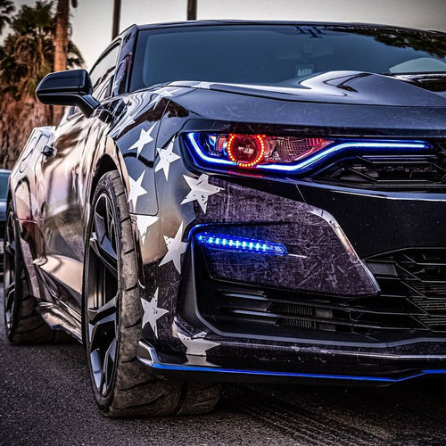 2019-2021 Chevrolet Camaro RS SS RGBW LED DRL Prebuilt Headlights & Fog Lights (Color-Changing)