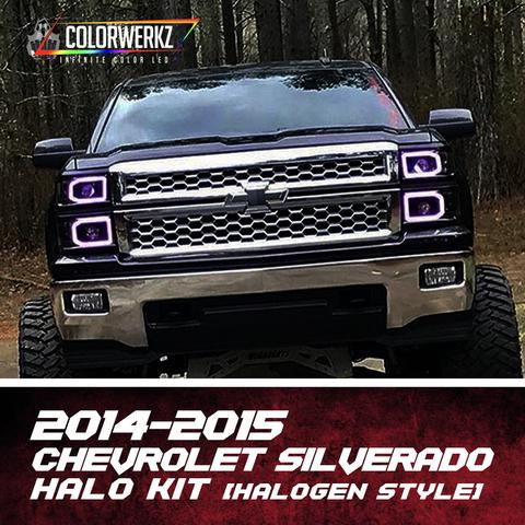 2014-2015 Chevrolet Silverado Color-Chasing Halo Kit (Halogen) LED headlight kit AutoLEDTech Colorwerkz Oracle Lighting Trendz Flow Series Flashtech RGBHaloKits LED Concepts