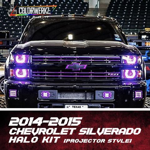 2014-2015 Chevrolet Silverado Color-Chasing Halo Kit (Projector) LED headlight kit AutoLEDTech Colorwerkz Oracle Lighting Trendz Flow Series Flashtech RGBHaloKits LED Concepts