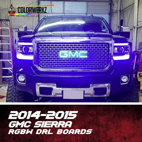 2014-2015 GMC Sierra RGBW DRL Boards LED headlight kit  AutoLEDTech Colorwerkz Oracle Starry Night Flashtech