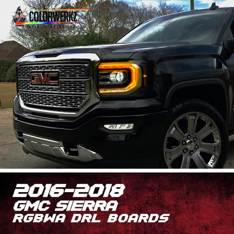 2016-2019 GMC Sierra Color Chasing / RGBW +A DRL Boards LED headlight kit AutoLEDTech Colorwerkz Oracle Lighting Trendz Flow Series Flashtech RGBHaloKits LED Concepts