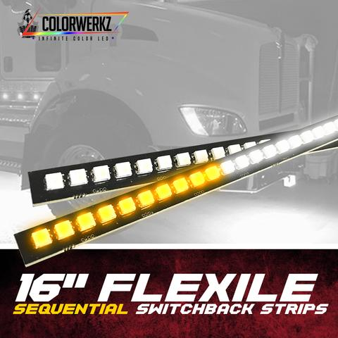 "16"" Flexile Sequential Switchback Strips LED headlight kit AutoLEDTech Colorwerkz Oracle Lighting Trendz Flow Series Flashtech RGBHaloKits LED Concepts"