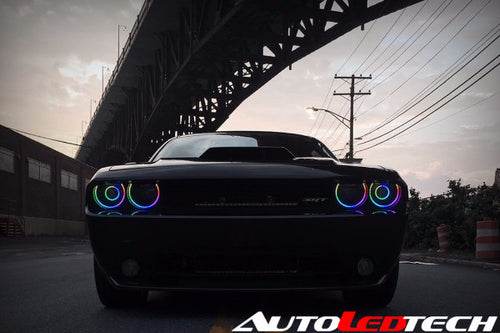 WATERPROOF [BLACK EDITION] 2008-2014 Dodge Challenger Exterior Halo Kit LED color chasing headlight halo kit  AutoLEDTech & Colorwerkz