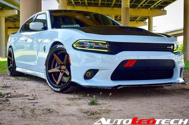 2015-2018 Dodge Charger Color-Chasing Halo Kit LED headlight kit  AutoLEDTech Colorwerkz Oracle Starry Night Flashtech