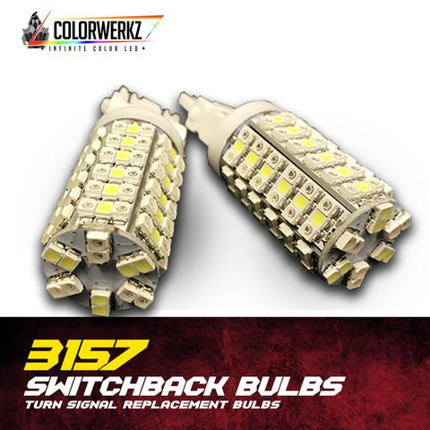 3157 Switchback LED Turn Signal Bulbs (White + Amber)