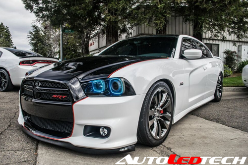 [BLACK EDITION] 2011-2014 Dodge Charger LED color chasing headlight halo kit  AutoLEDTech & Colorwerkz