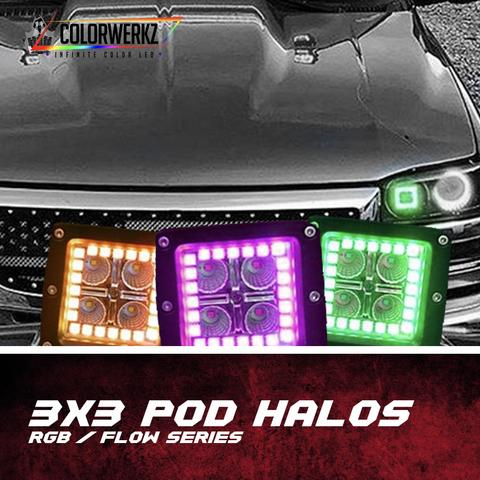 3x3 LED Pod Halos LED headlight kit  AutoLEDTech Colorwerkz Oracle Starry Night Flashtech