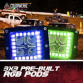 RGB 3x3 LED Halo Pods LED headlight kit  AutoLEDTech Colorwerkz Oracle Starry Night Flashtech