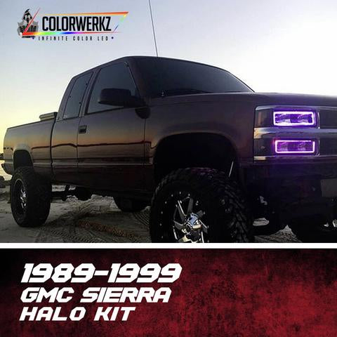 1989-1999 GMC Sierra OBS Color-Chasing Halo Kit LED headlight kit AutoLEDTech Colorwerkz Oracle Lighting Trendz Flow Series Flashtech RGBHaloKits LED Concepts