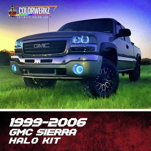 1999-2006 GMC Sierra Color-Chasing Halo Kit LED headlight kit AutoLEDTech Colorwerkz Oracle Lighting Trendz Flow Series Flashtech RGBHaloKits LED Concepts