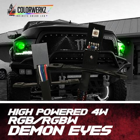 High Powered (4W) RGBW Demon Eyes LED headlight kit AutoLEDTech Colorwerkz Oracle Lighting Trendz Flow Series Flashtech RGBHaloKits LED Concepts