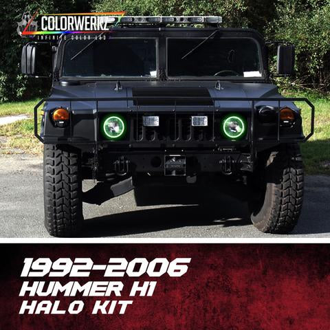 1992-2006 Hummer H1 Color-Chasing Halo kit LED headlight kit AutoLEDTech Colorwerkz Oracle Lighting Trendz Flow Series Flashtech RGBHaloKits LED Concepts