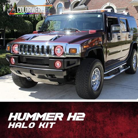 2003-2009 Hummer H2 Color-Chasing Halo kit LED headlight kit AutoLEDTech Colorwerkz Oracle Lighting Trendz Flow Series Flashtech RGBHaloKits LED Concepts