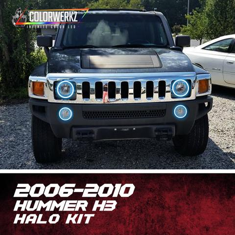 2006-2010 Hummer H3 Color-Chasing Halo kit LED headlight kit AutoLEDTech Colorwerkz Oracle Lighting Trendz Flow Series Flashtech RGBHaloKits LED Concepts