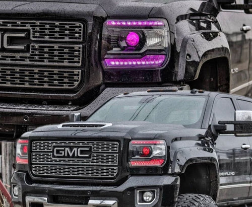 2014-2019 GMC Sierra RGBW +A DRL Boards LED headlight kit AutoLEDTech Colorwerkz Oracle Lighting Trendz Flow Series Flashtech RGBHaloKits LED Concepts
