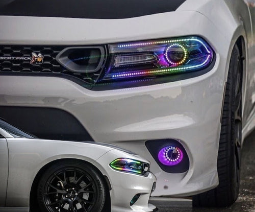 2015-2020 Dodge Charger RGBW Color-Chasing DRL Boards LED headlight kit AutoLEDTech Colorwerkz Oracle Lighting Trendz Flow Series Flashtech RGBHaloKits LED Concepts