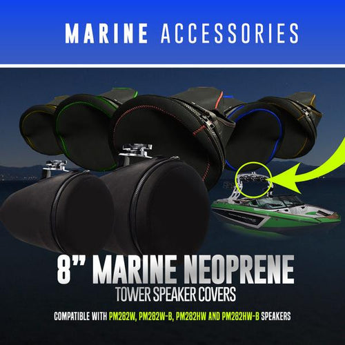 "8"" Neoprene Marine Tower Speaker Covers LED color chasing headlight halo kit  AutoLEDTech & Colorwerkz"