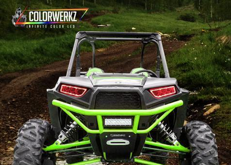 Prebuilt Polaris RZR Color-Chasing Halo LED Headlights LED headlight kit  AutoLEDTech Colorwerkz Oracle Starry Night Flashtech