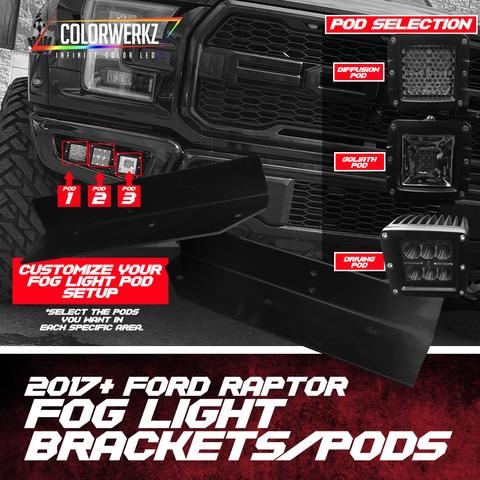 2017-2018 Ford Raptor Fog Light LED Pods + Mounting Brackets LED headlight kit  AutoLEDTech Colorwerkz Oracle Starry Night Flashtech