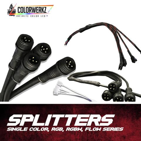 2-to-1 Flow Series Splitter LED headlight kit AutoLEDTech Colorwerkz Oracle Lighting Trendz Flow Series Flashtech RGBHaloKits LED Concepts